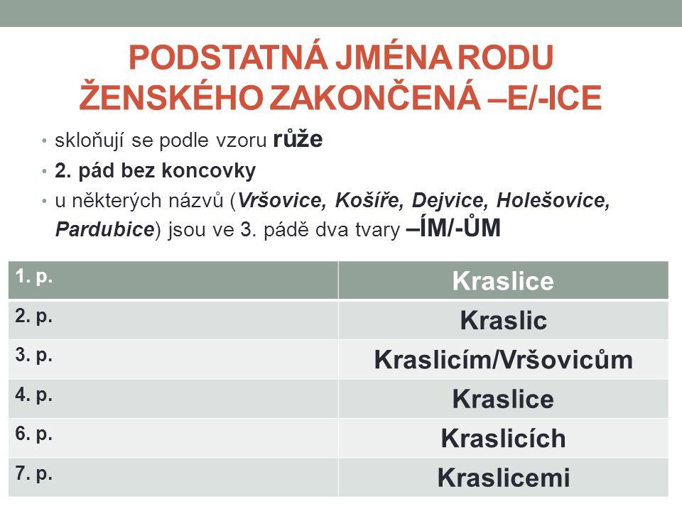 PODSTATNÁ JMÉNA RODU ŽENSKÉHO ZAKONČENÁ –E/-ICE