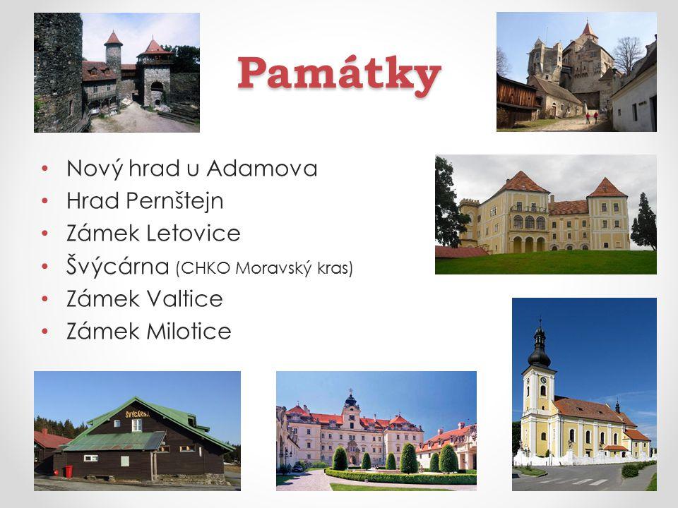 Památky Nový hrad u Adamova Hrad Pernštejn Zámek Letovice