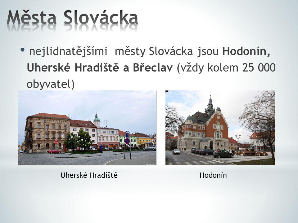 Města Slovácka nejlidnatějšími městy Slovácka jsou Hodonín,