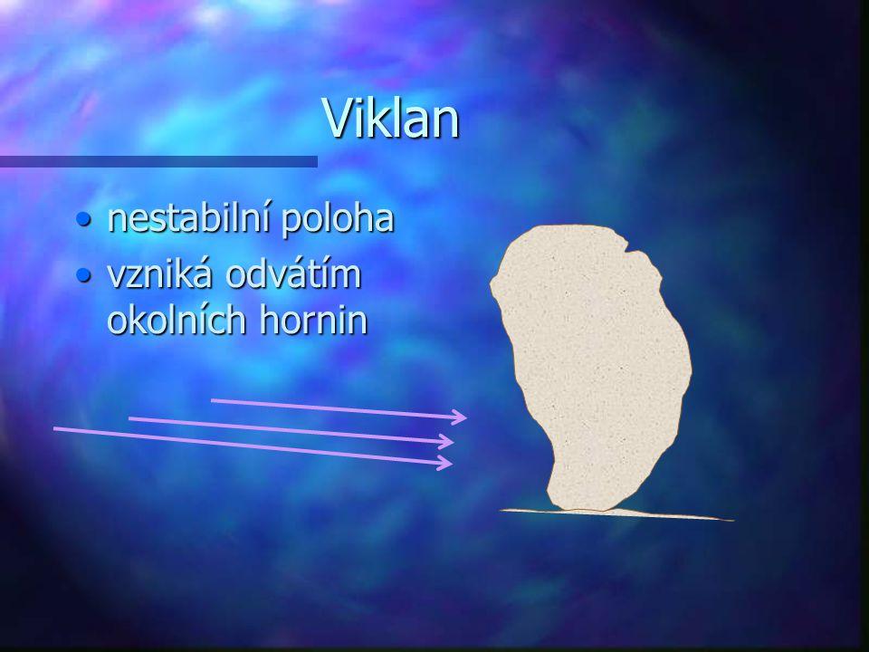 Viklan nestabilní poloha vzniká odvátím okolních hornin