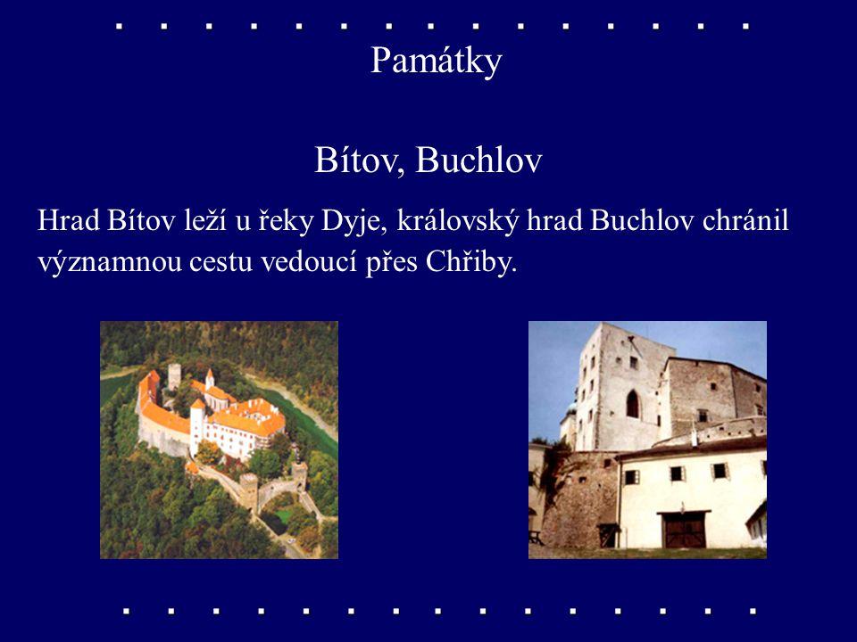 Památky Bítov, Buchlov. Hrad Bítov leží u řeky Dyje, královský hrad Buchlov chránil.