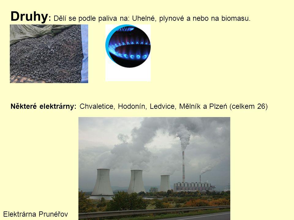 Druhy: Dělí se podle paliva na: Uhelné, plynové a nebo na biomasu.
