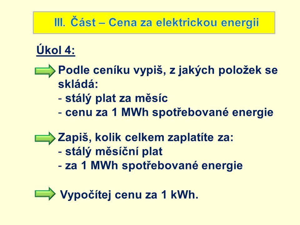 III. Část – Cena za elektrickou energii