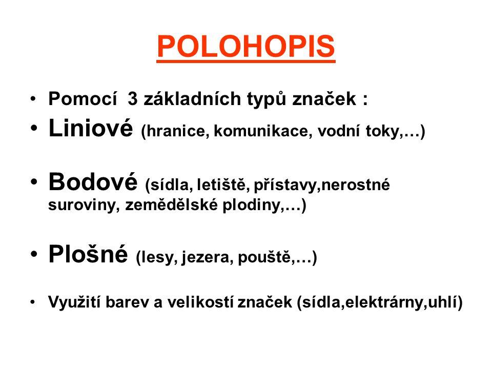 POLOHOPIS Liniové (hranice, komunikace, vodní toky,…)