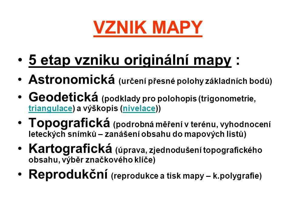 VZNIK MAPY 5 etap vzniku originální mapy :