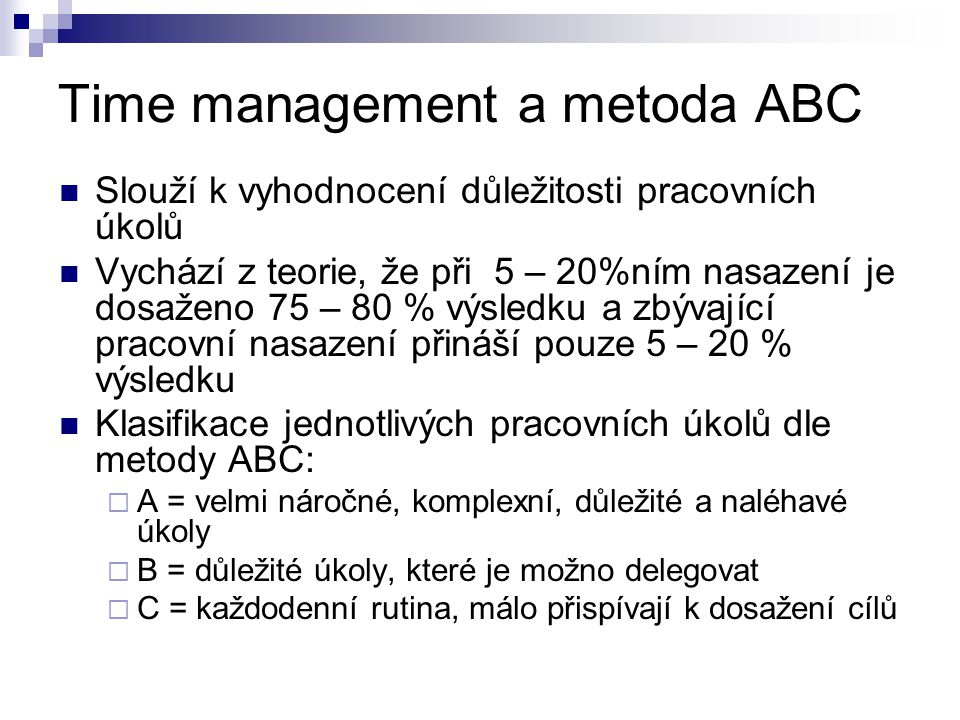 Time management a metoda ABC