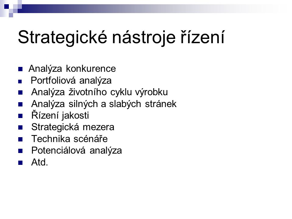 Strategické nástroje řízení