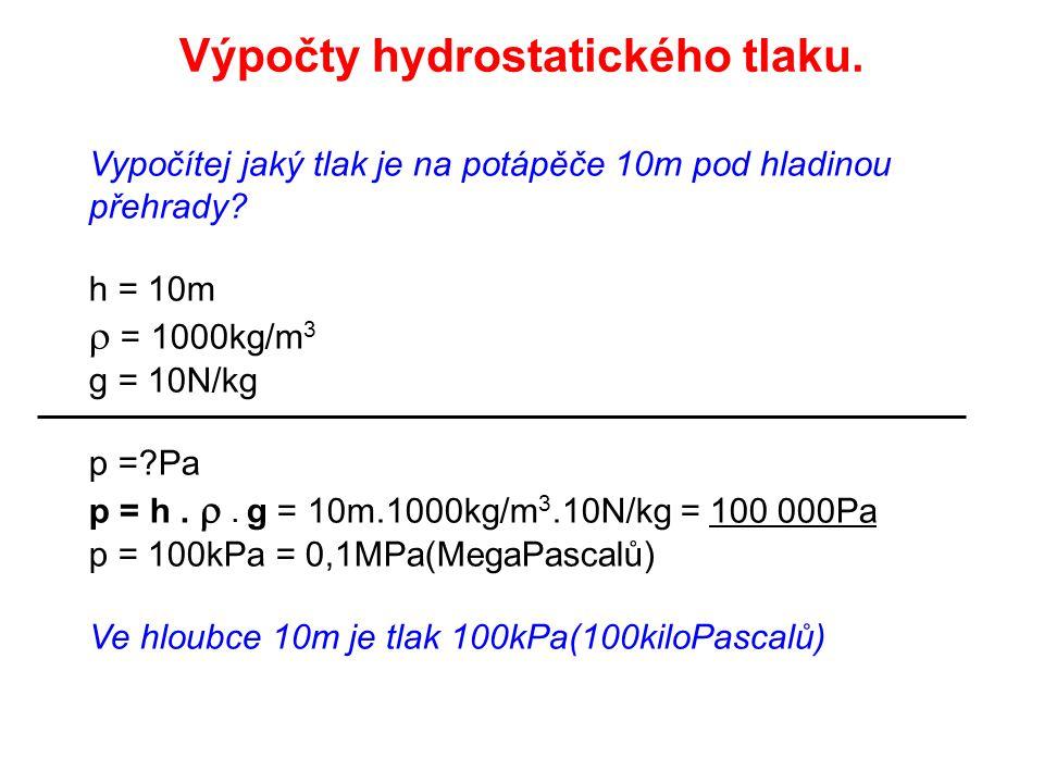Výpočty hydrostatického tlaku.