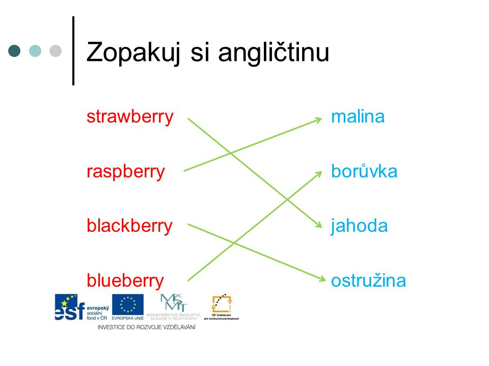 Zopakuj si angličtinu strawberry malina raspberry borůvka