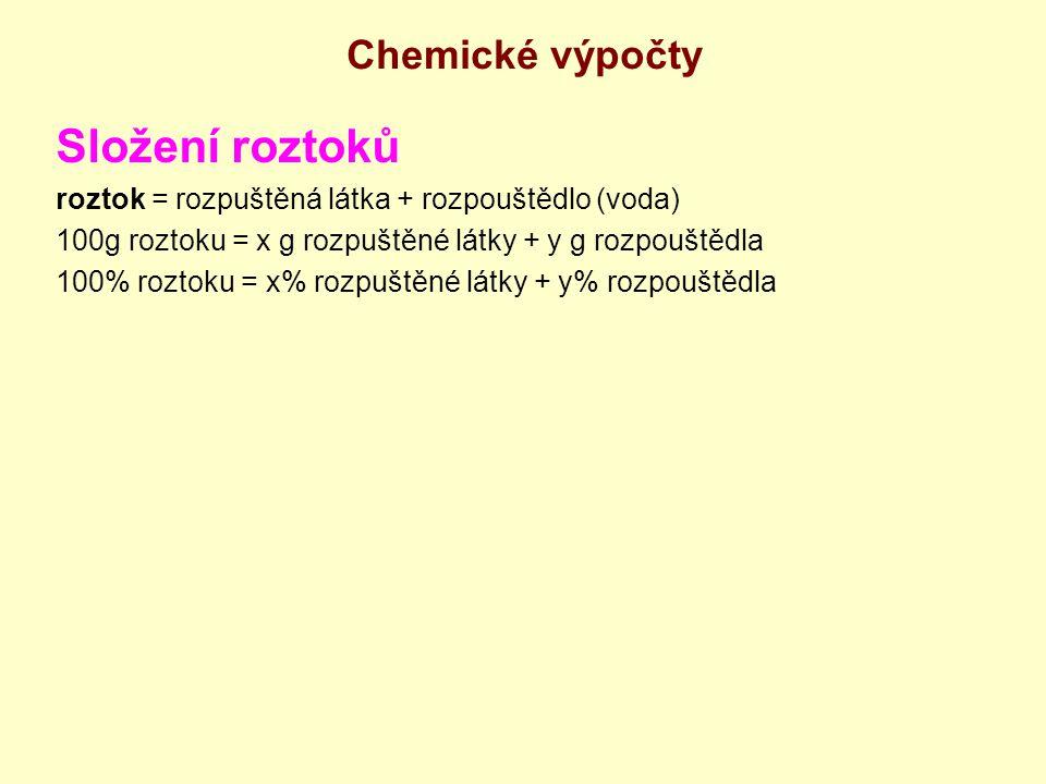 Složení roztoků Chemické výpočty
