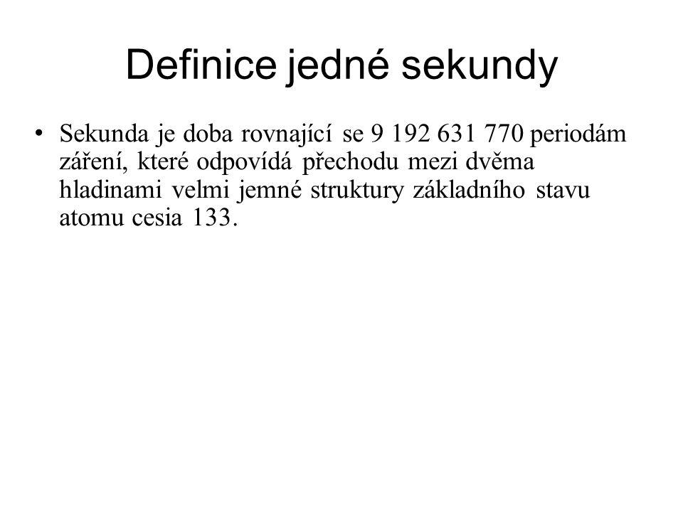 Definice jedné sekundy