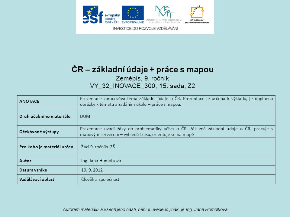 ČR – základní údaje + práce s mapou