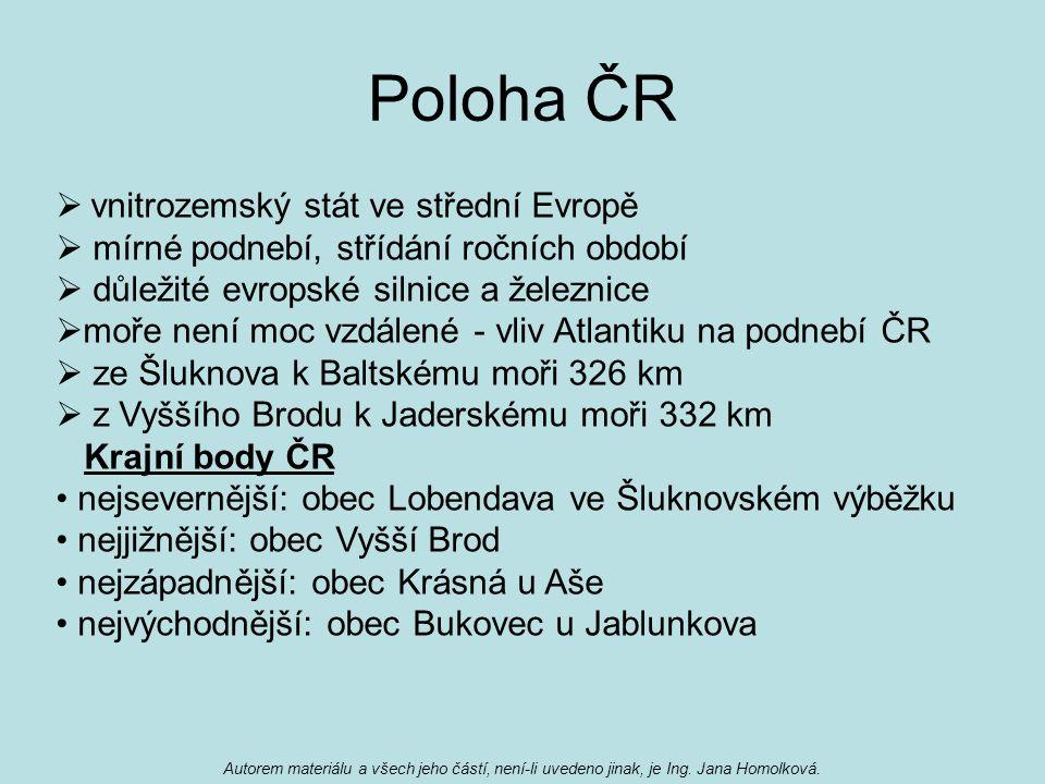 Poloha ČR vnitrozemský stát ve střední Evropě