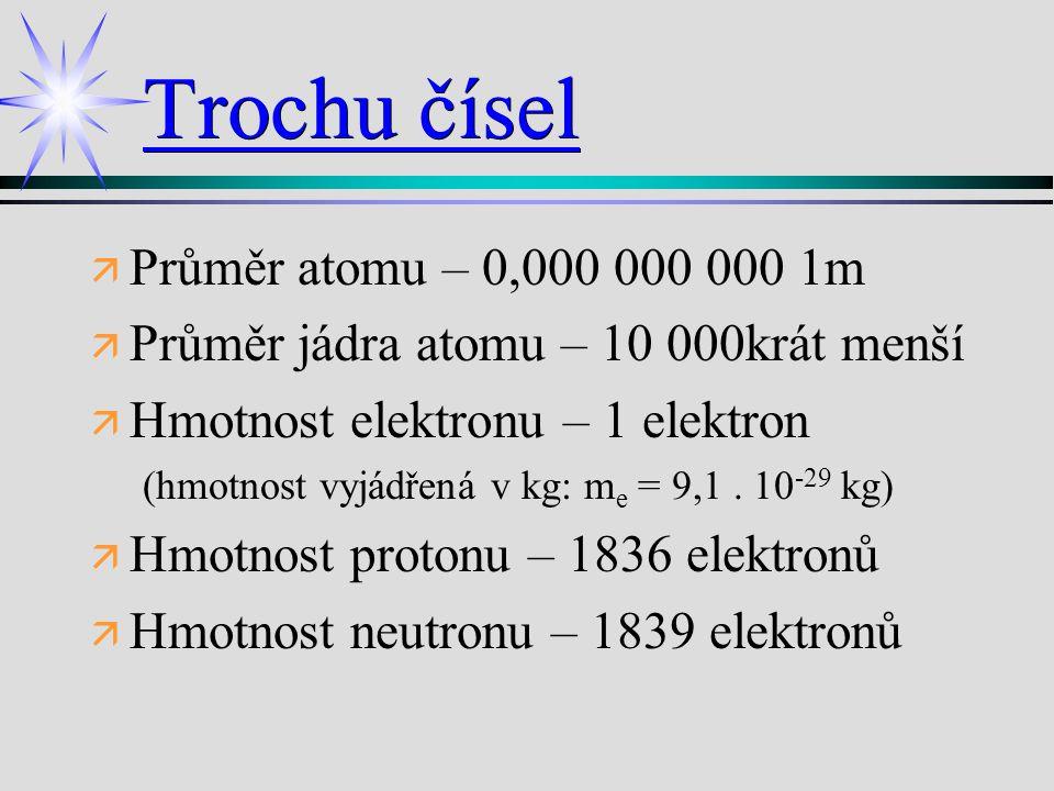 Trochu čísel Průměr atomu – 0,000 000 000 1m