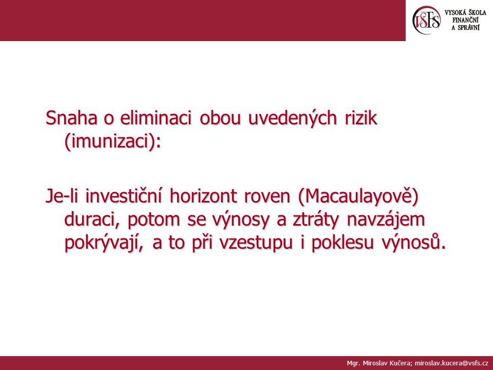 Snaha o eliminaci obou uvedených rizik (imunizaci): Je-li investiční horizont roven (Macaulayově) duraci, potom se výnosy a ztráty navzájem pokrývají, a to při vzestupu i poklesu výnosů.