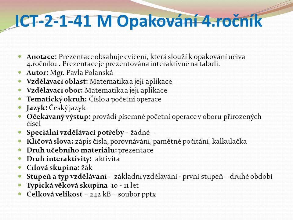 ICT-2-1-41 M Opakování 4.ročník