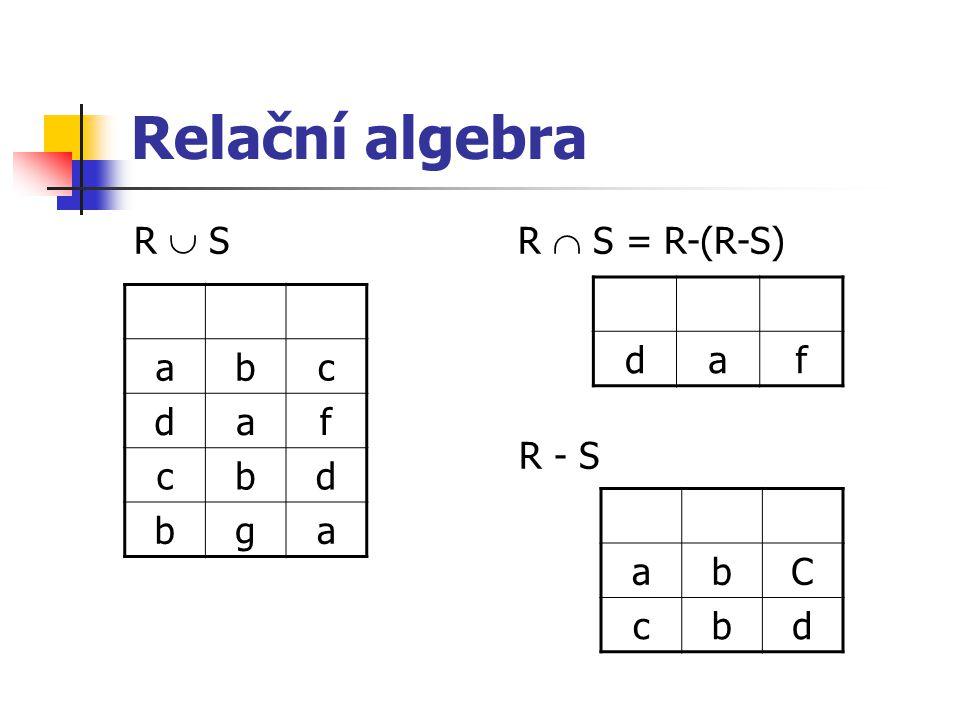 Relační algebra R  S R  S = R-(R-S) R - S d a f a b c d f g a b C c