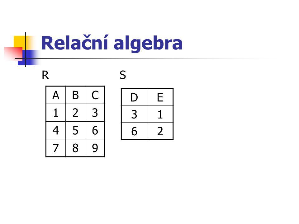 Relační algebra R S A B C 1 2 3 4 5 6 7 8 9 D E 3 1 6 2