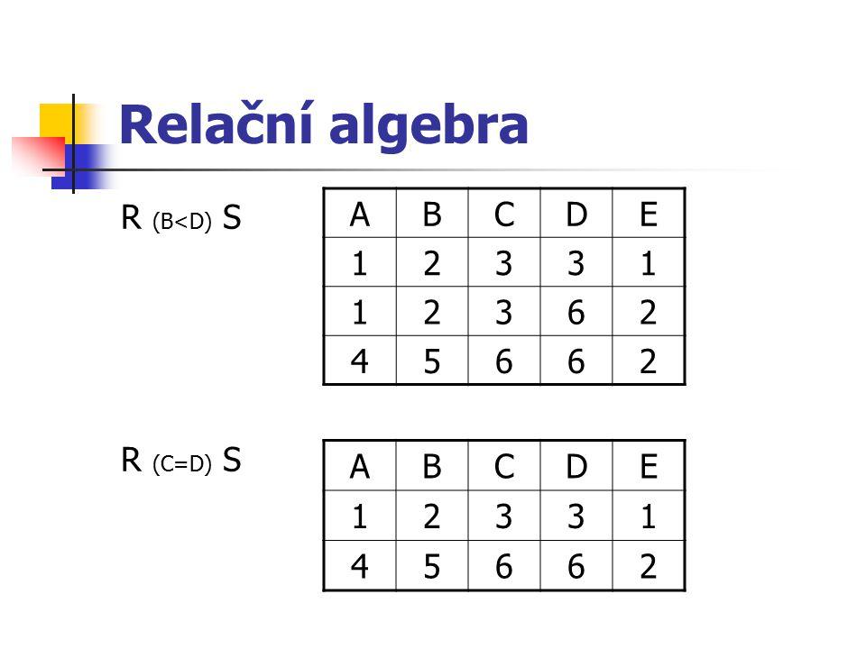 Relační algebra R (B<D) S R (C=D) S A B C D E 1 2 3 6 4 5 A B C D E