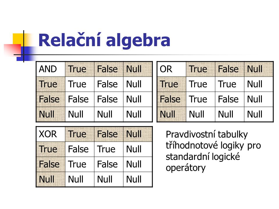 Relační algebra AND True False Null OR True False Null XOR True False