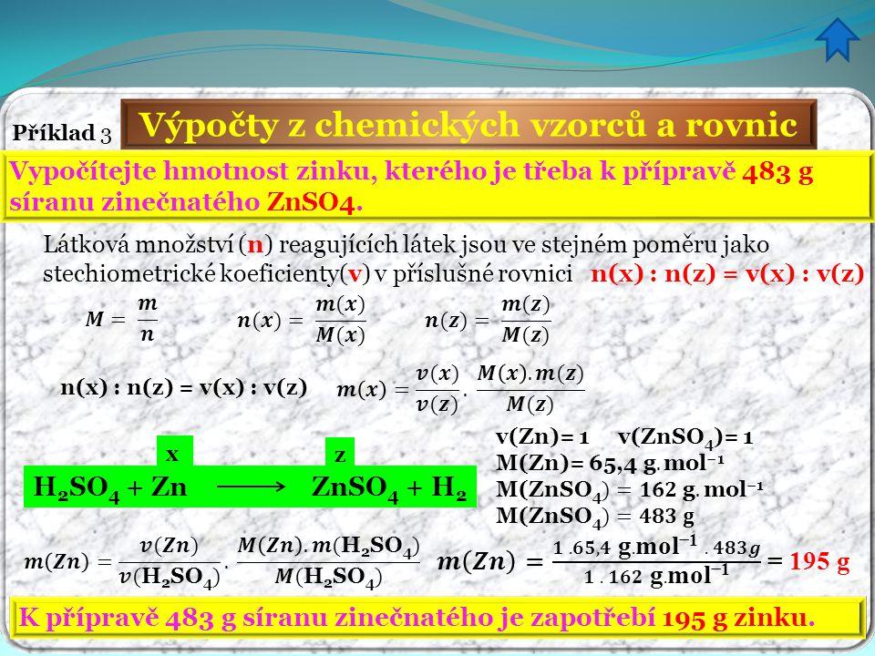 Výpočty z chemických vzorců a rovnic
