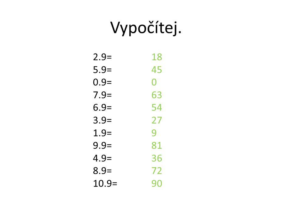 Vypočítej. 2.9= 5.9= 0.9= 7.9= 6.9= 3.9= 1.9= 9.9= 4.9= 8.9= 10.9=