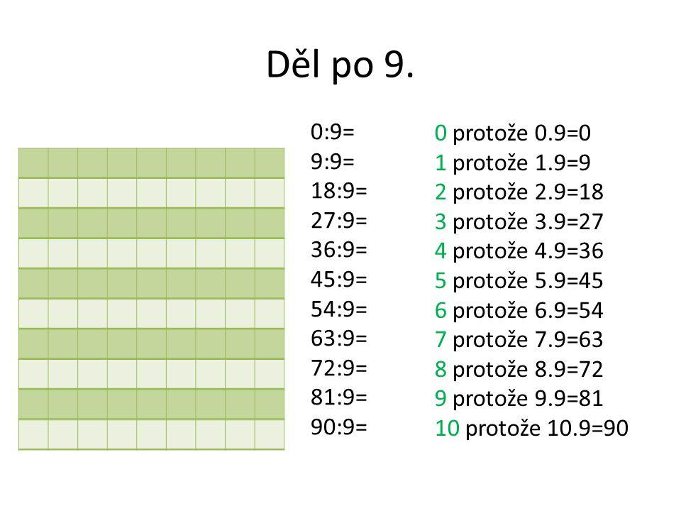 Děl po 9. 0:9= 9:9= 18:9= 27:9= 36:9= 45:9= 54:9= 63:9= 72:9= 81:9= 90:9=