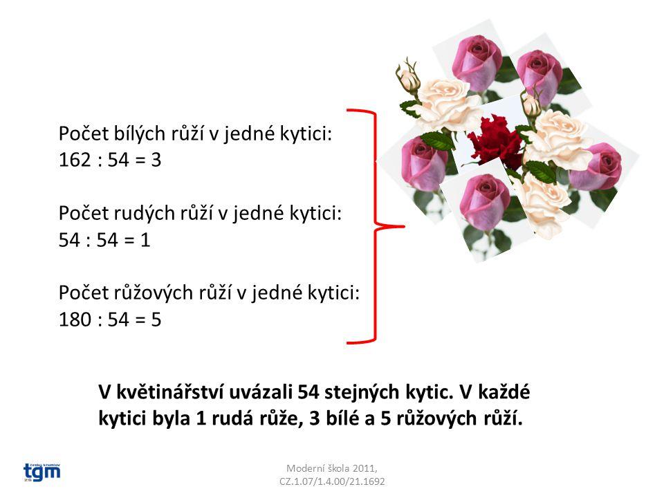 Počet bílých růží v jedné kytici: 162 : 54 = 3