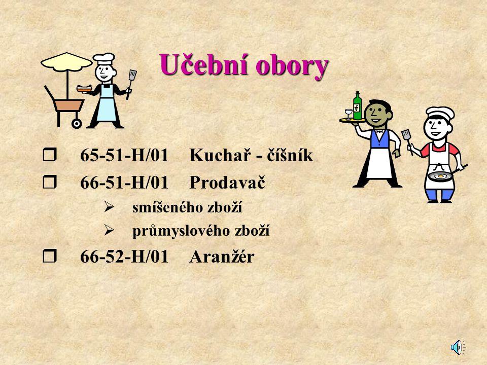 Učební obory 65-51-H/01 Kuchař - číšník 66-51-H/01 Prodavač