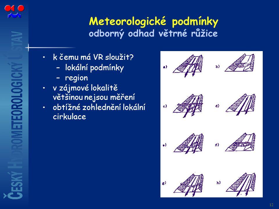 Meteorologické podmínky odborný odhad větrné růžice