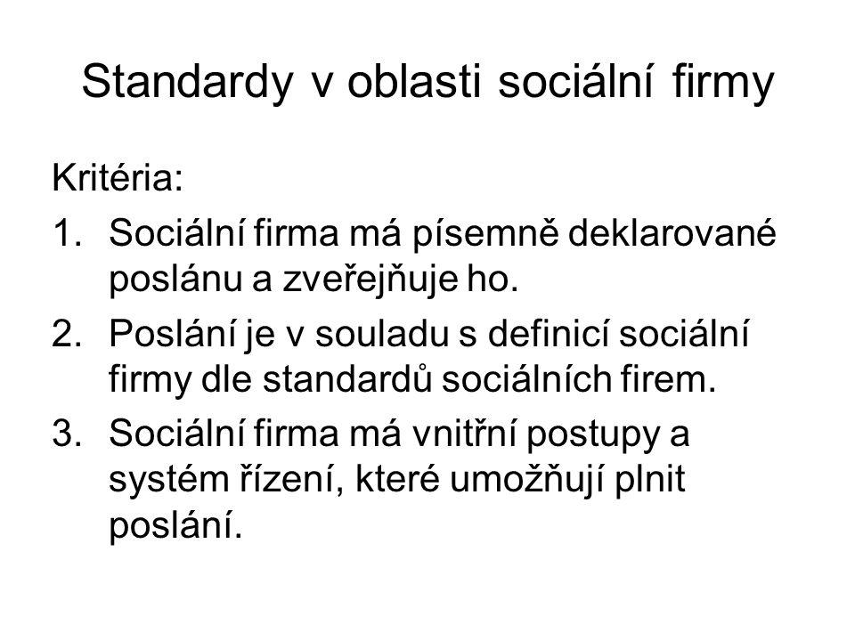 Standardy v oblasti sociální firmy