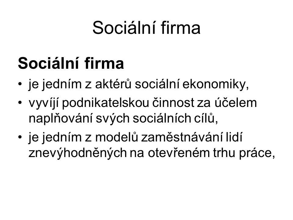Sociální firma Sociální firma je jedním z aktérů sociální ekonomiky,
