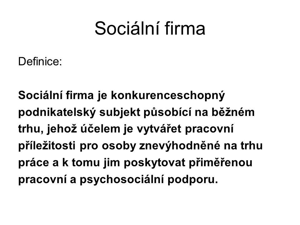 Sociální firma Definice: Sociální firma je konkurenceschopný
