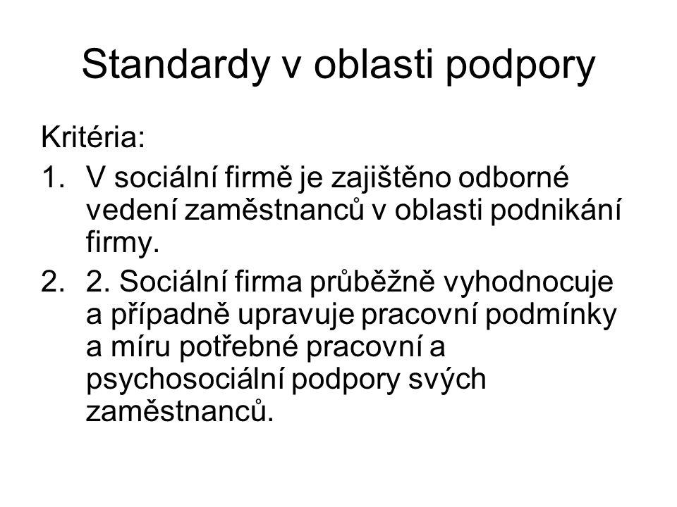 Standardy v oblasti podpory