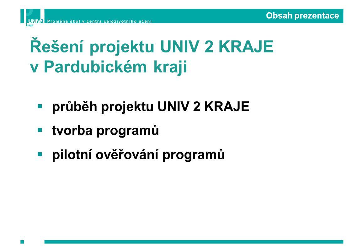 Řešení projektu UNIV 2 KRAJE v Pardubickém kraji