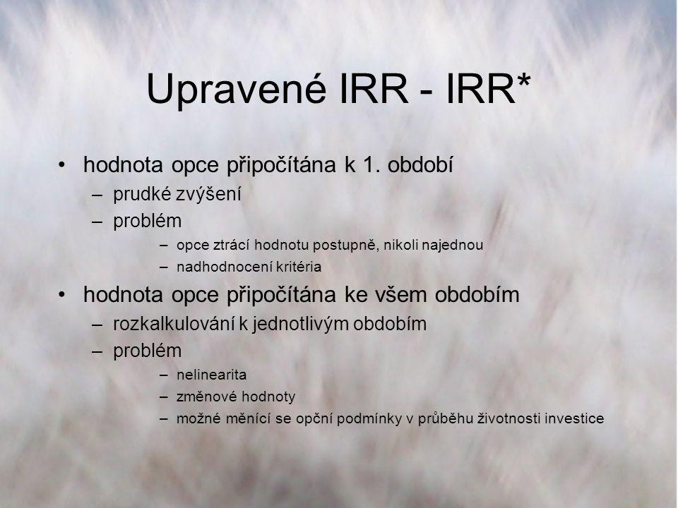 Upravené IRR - IRR* hodnota opce připočítána k 1. období