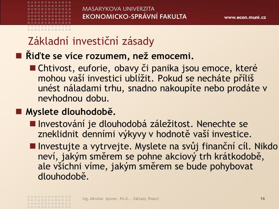 Základní investiční zásady