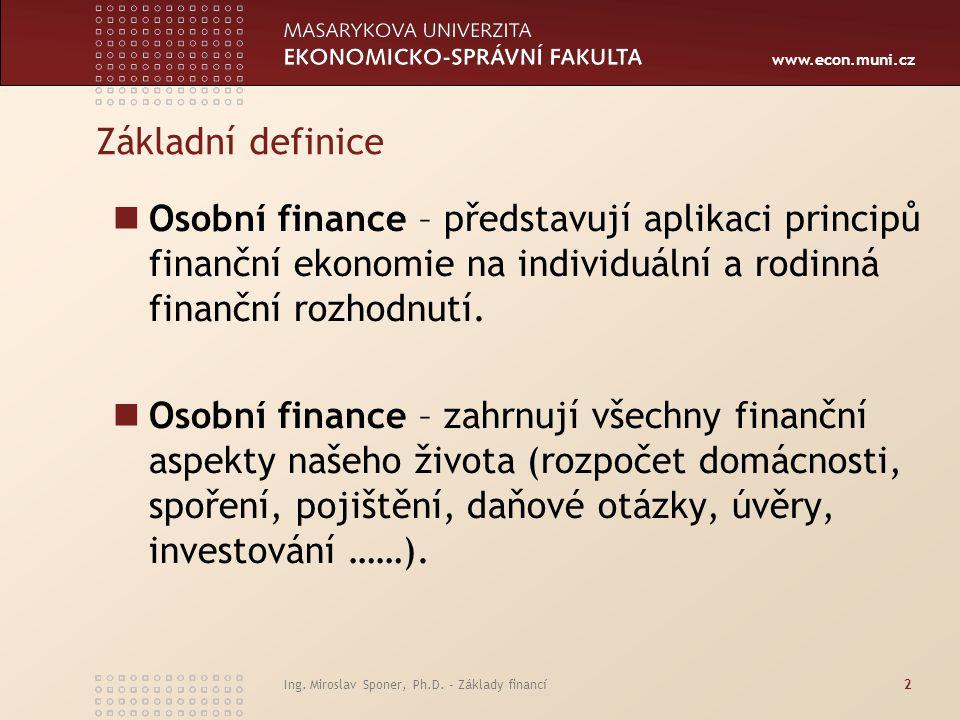 Základní definice Osobní finance – představují aplikaci principů finanční ekonomie na individuální a rodinná finanční rozhodnutí.
