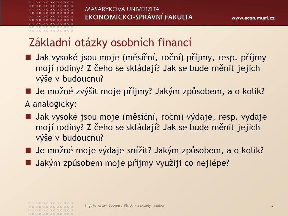 Základní otázky osobních financí