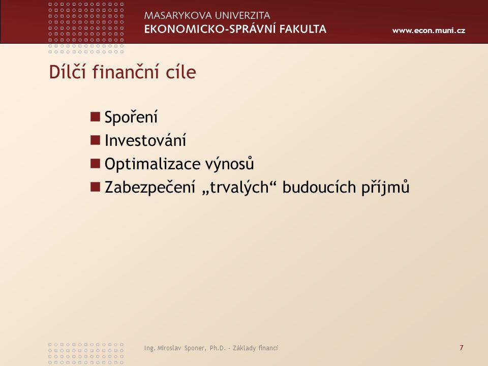 Dílčí finanční cíle Spoření Investování Optimalizace výnosů