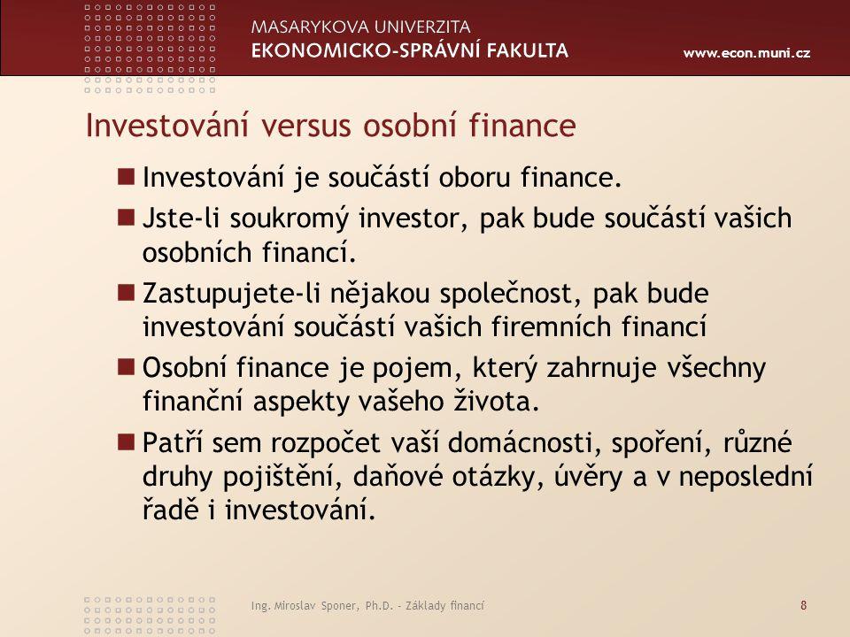 Investování versus osobní finance