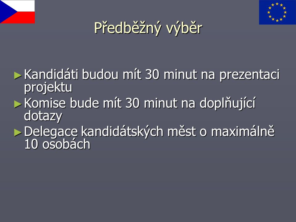 Předběžný výběr Kandidáti budou mít 30 minut na prezentaci projektu