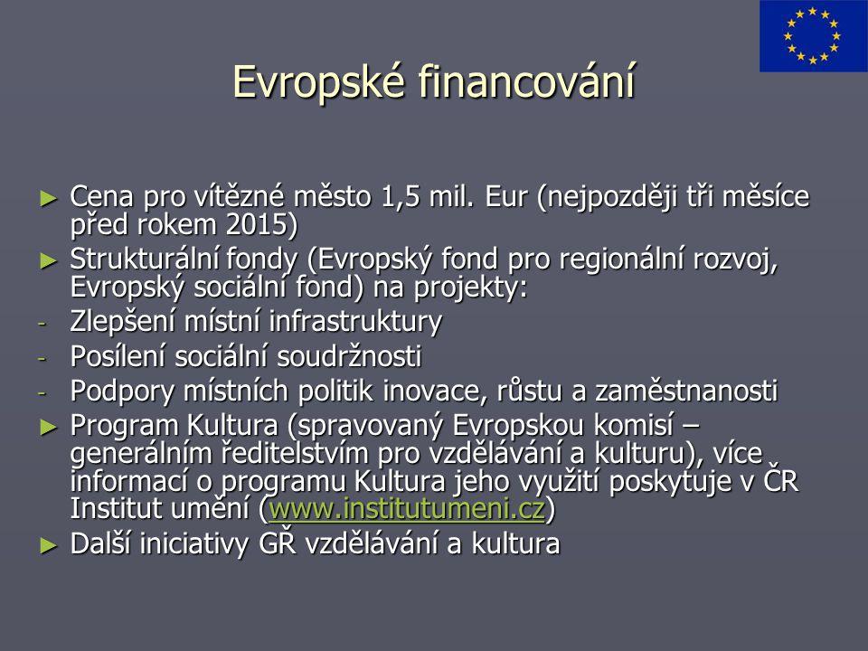 Evropské financování Cena pro vítězné město 1,5 mil. Eur (nejpozději tři měsíce před rokem 2015)