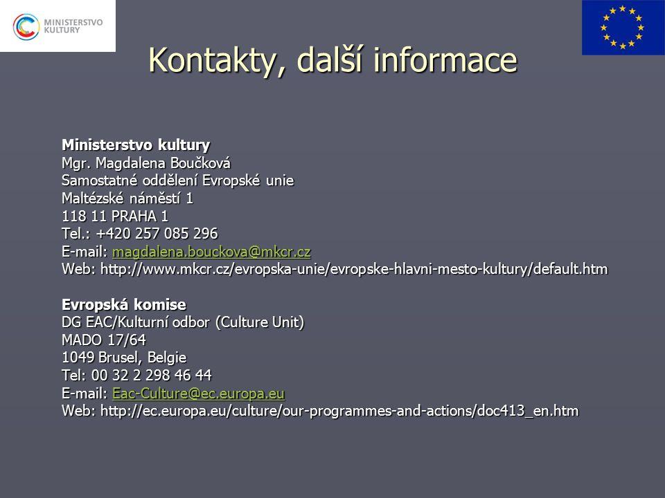 Kontakty, další informace