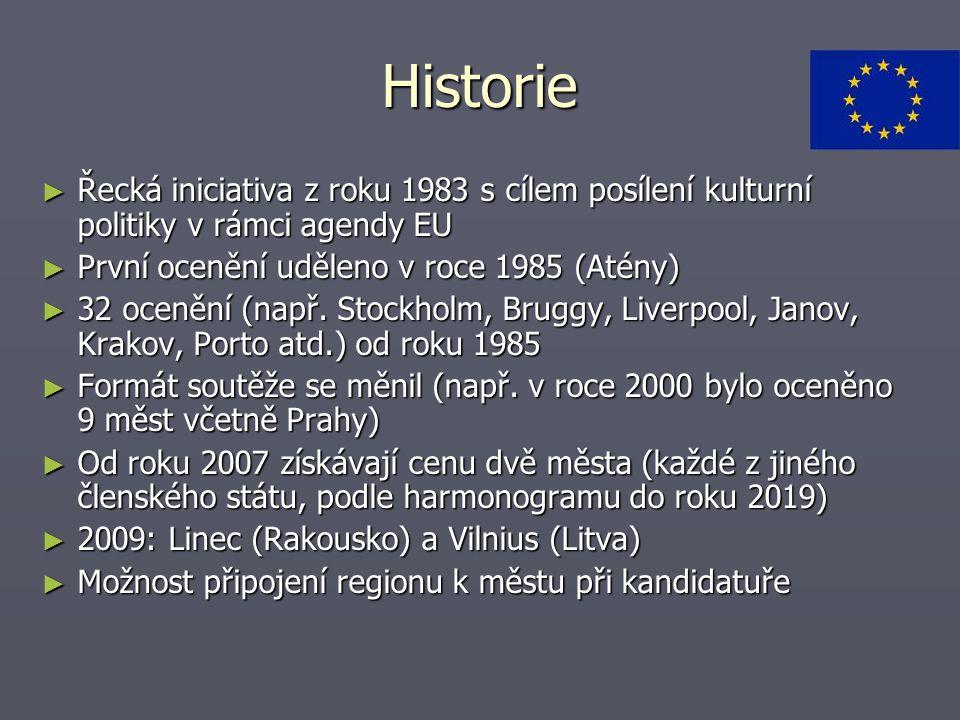Historie Řecká iniciativa z roku 1983 s cílem posílení kulturní politiky v rámci agendy EU. První ocenění uděleno v roce 1985 (Atény)
