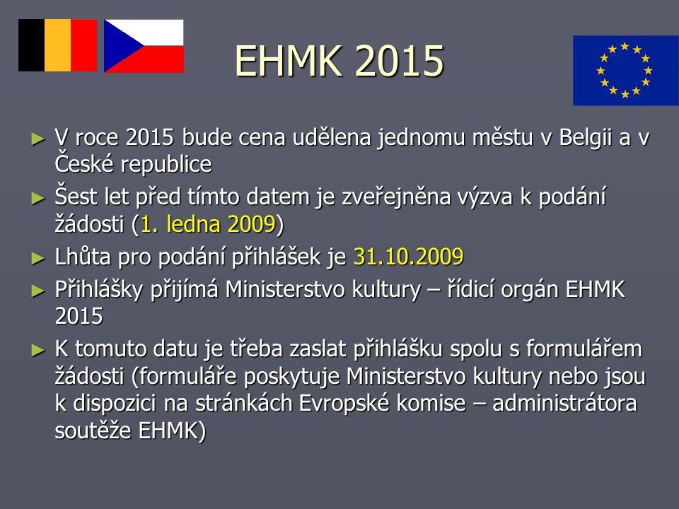 EHMK 2015 V roce 2015 bude cena udělena jednomu městu v Belgii a v České republice.