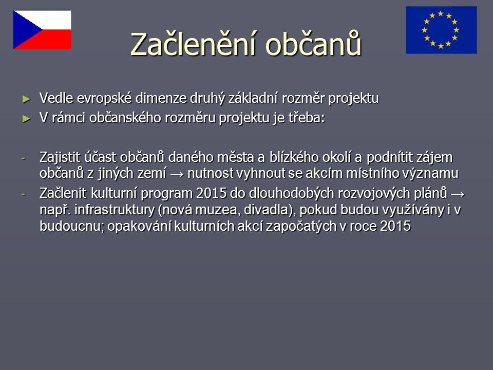 Začlenění občanů Vedle evropské dimenze druhý základní rozměr projektu