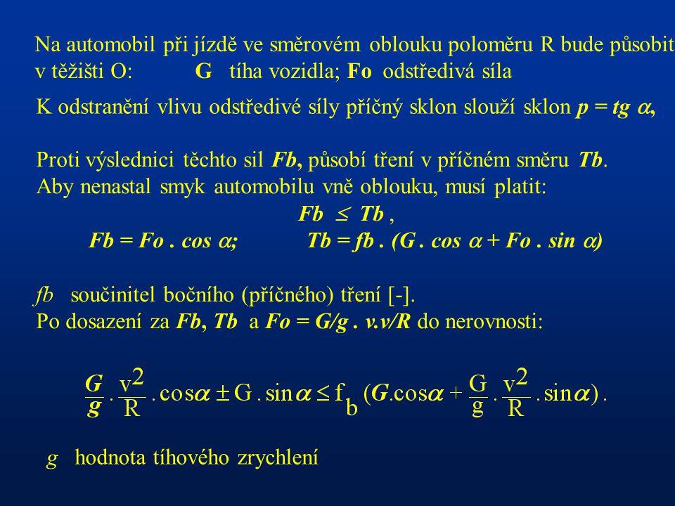 Fb = Fo . cos ; Tb = fb . (G . cos  + Fo . sin )