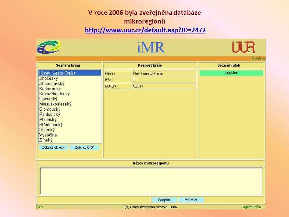 V roce 2006 byla zveřejněna databáze mikroregionů http://www. uur