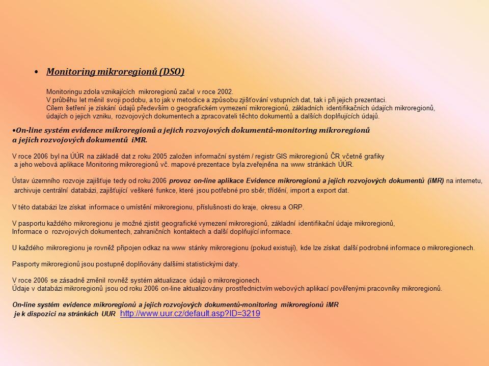 Monitoring mikroregionů (DSO)